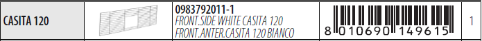 FERPLAST WHITE FRONT SIDE CASITA 120 Решетка для клетки